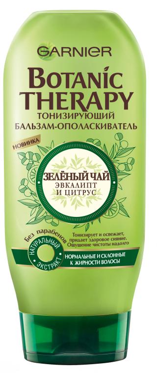 """Тонизирующий бальзам-ополаскиватель """"Зеленый чай, эвкалипт и цитрус"""" - Garnier Botanic Therapy"""