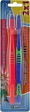 Духи, Парфюмерия, косметика Набор детских зубных щеток, синяя + красная - Kin Junior Toothbrush Pack