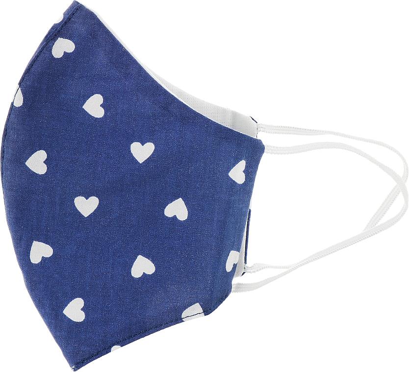 """Маска защитная из хлопка для лица синяя """"Сердечки"""", размер М - Gioia"""