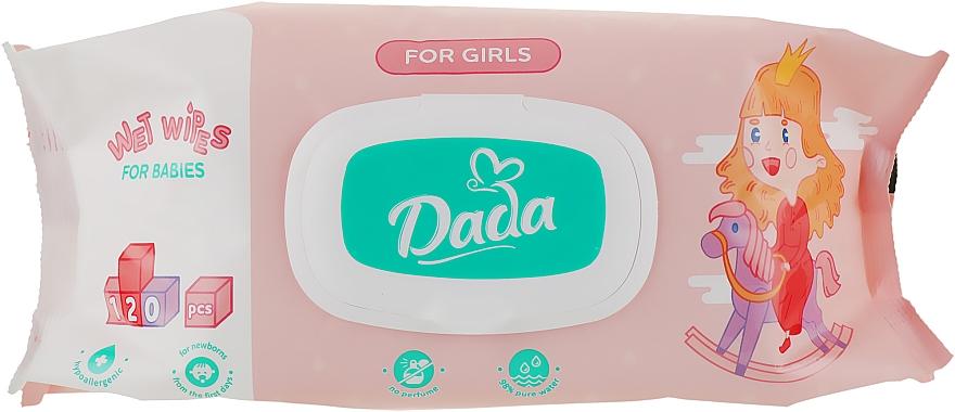 Влажные салфетки без запаха для девочек, с клапаном - Dada Wipes For Girls