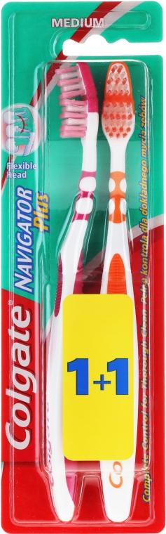 """Зубная щетка """"Навигатор плюс"""" средняя 1+1, оранжевая+розовая - Colgate"""