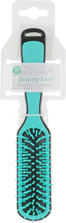 Прямоугольная расческа для укладки, бирюзово-черная - Beauty Line