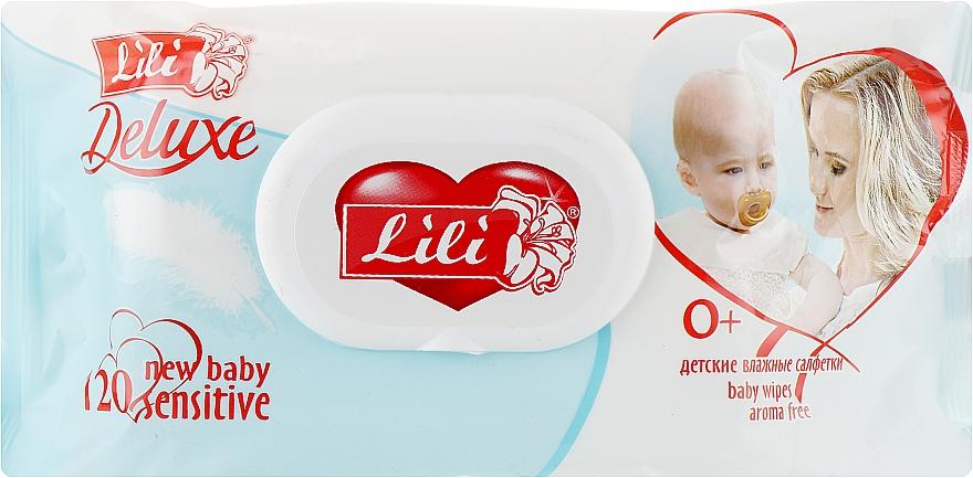 Детские влажные салфетки с клапаном, с экстрактом календулы и витамином Е, 120шт - Lili Deluxe