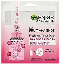 Духи, Парфюмерия, косметика Освежающая тканевая маска для лица - Garnier Skin Active New Fruit Aha Shot Fresh Mix Tissue Mask