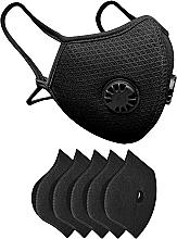 Духи, Парфюмерия, косметика Набор: маска-респиратор многоразовая с двумя клапанами и 5 защитных фильтров, черная - XoKo