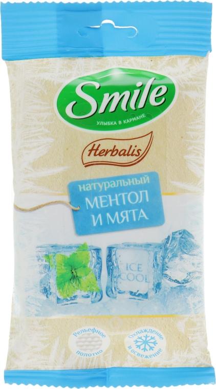 Влажные салфетки с ментолом и мятой, 10шт - Smile Ukraine Herbalis