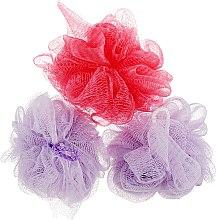 """Духи, Парфюмерия, косметика Губка банная сетчатая """"Bant"""", фиолетовая + красная + фиолетовая - Акватория"""
