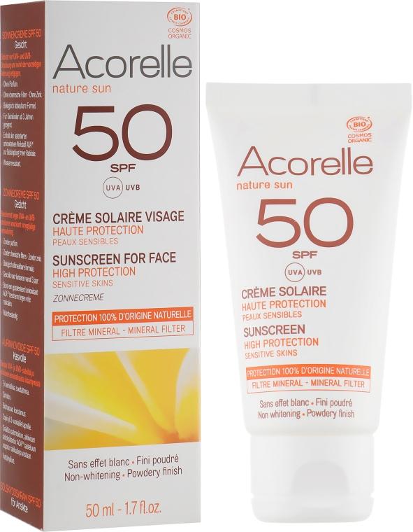 Солнцезащитный крем для лица с эффектом пудры - Acorelle Sunscreen High Protection SPF50