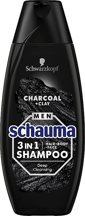"""Шампунь для мужчин """"Уголь и вулканическая глина"""" - Schwarzkopf Schauma Men 3 in 1 Shampoo"""