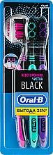 """Парфумерія, косметика Набір зубних щіток """"Всестороннє чищення"""", малинова + зелена + фіолетова - Oral-B Black Medium"""
