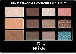 Духи, Парфюмерия, косметика Палетка для макияжа - Malva Cosmetics Pro Eyeshadow & Contour & Highlight