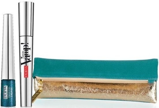 Набор - Pupa Make Up Kit Diamond Vamp (Mascara/9ml + eyeliner/4.5ml + bag)