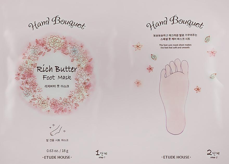 Маска для кожи ног с маслом ши - Etude House Hand Bouquet Rich Butter Foot Mask