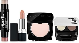 Духи, Парфюмерия, косметика Набор - Avon True VS Mark (powder/8g+blush/highl/8g+brow/set/4g+lipstick/3.5g)
