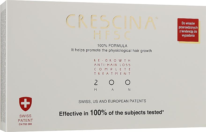 Полный курс при выпадении и для восстановления роста волос 200 для мужчин - Crescina Re-Growth HFSC 100% + Crescina Anti-Hair Loss HSSC