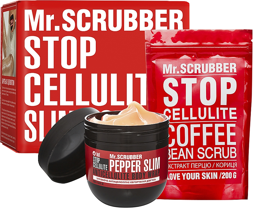 Набор - Mr.Scrubber Stop Cellulite Hot Pepper Slim (cr/250g + scrub/200g)