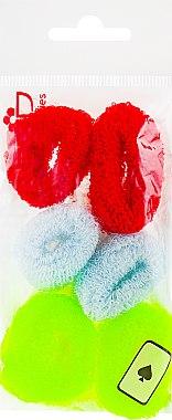 Набор резинок для волос, 7580, 6шт, неоново-желтый + бледно-голубой + красный - Reed