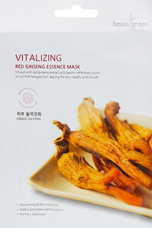 Тканевая маска для лица с экстрактом красного женьшеня - BeauuGreen Vitalizing Red Ginseng Essence Mask