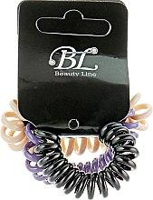 Духи, Парфюмерия, косметика Набор резинок для волос, 405004, бежевая+фиолетовая+черная - Beauty Line