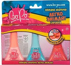 Духи, Парфюмерия, косметика Набор лаков для ногтей 3шт, розовый, голубой, красный - BoPo