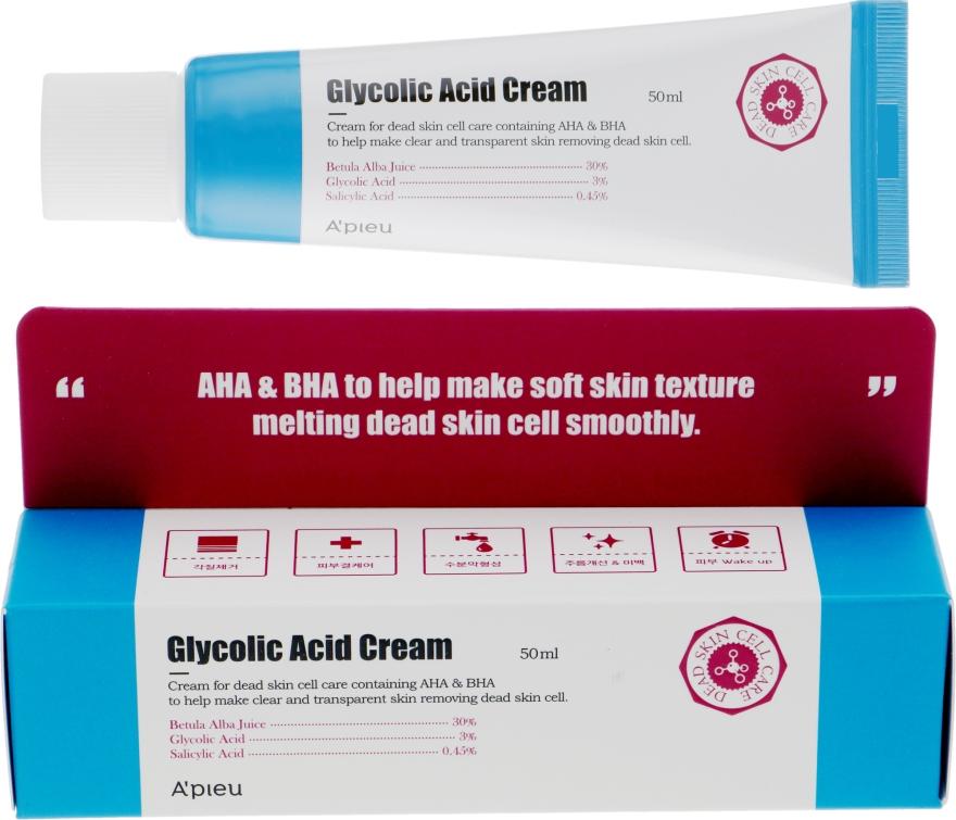 Обновляющий крем-пилинг для лица с AHA и BHA кислотами - A'pieu Glycolic Acid Cream