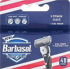 Духи, Парфюмерия, косметика Сменные кассеты для бритья, 4 шт. - Barbasol Men Ultra 6 Plus