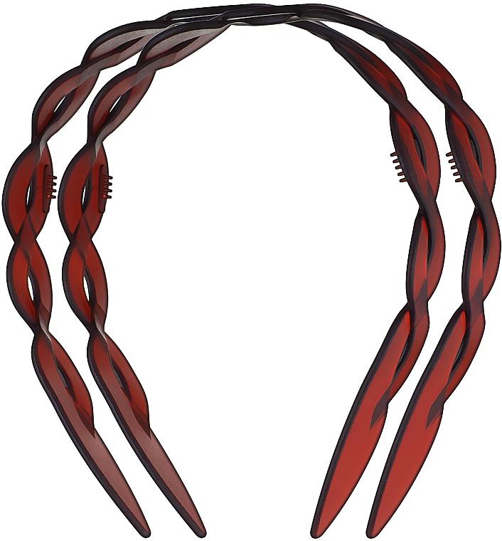 """Обруч для волос пластмассовый """"Plait"""", маленький, 2шт., коричневый - Titania"""