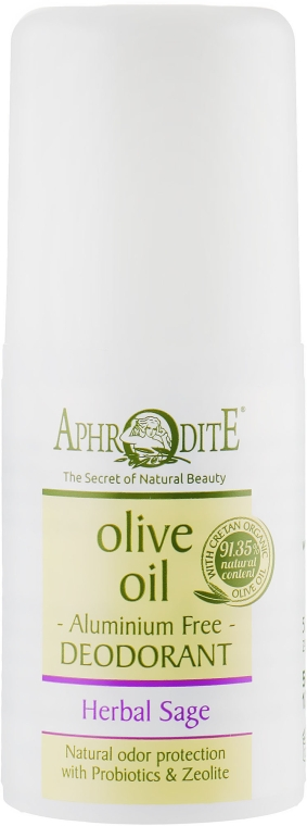 "Дезодорант шариковый ""Травяной"" - Aphrodite Olive Oil Roll-On Deodorant Herbal Sage"