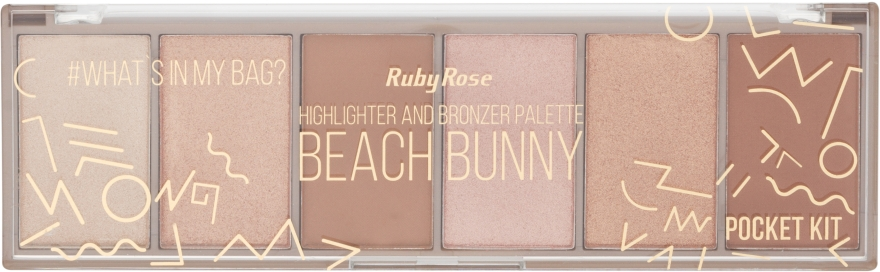Палитра хайлайтеров - Ruby Rose Beach Bunny Highlighter And Bronzer Palette