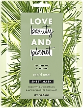 "Духи, Парфюмерия, косметика Тканевая маска для лица ""Быстрая перезагрузка"" - Love Beauty&Planet Tea Tree & Vetiver Sheet Mask"