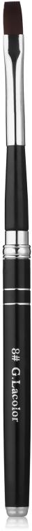 Кисть для наращивания 8, прямая с черной ручкой, искусственный ворс - G. Lacolor