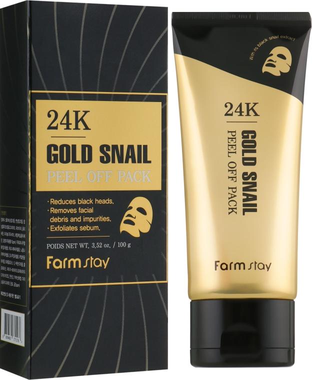 Маска-пленка c 24-каратным золотом и муцином улитки - FarmStay 24K Gold Snail Peel Off Pack