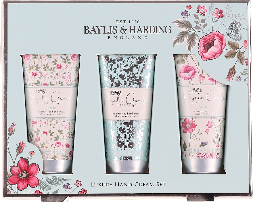 Набор по уходу за руками - Baylis & Harding Royale Garden Luxury Hand Care Set (h/cr/3x50ml)