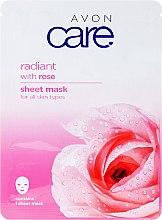 Духи, Парфюмерия, косметика Маска для лица осветляющая с экстрактом розы - Avon Care Radiant Sheet Mask With Rose