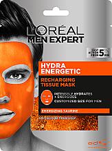Духи, Парфюмерия, косметика Тканевая маска для кожи лица - L'Oreal Paris Men Expert Hydra Energetic