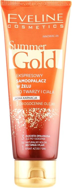 Гель-автозагар для лица и тела, светлый - Eveline Cosmetics Summer Gold 3in1 Gel Light