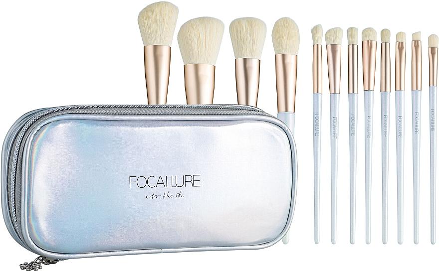 Набор кистей для макияжа, 12 шт. - Focallure Snow Elf Makeup Brushes Kit