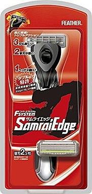 """Бритвенный станок с тройным лезвием""""Samurai Edge"""" с 2 запасными кассетами - Feather"""