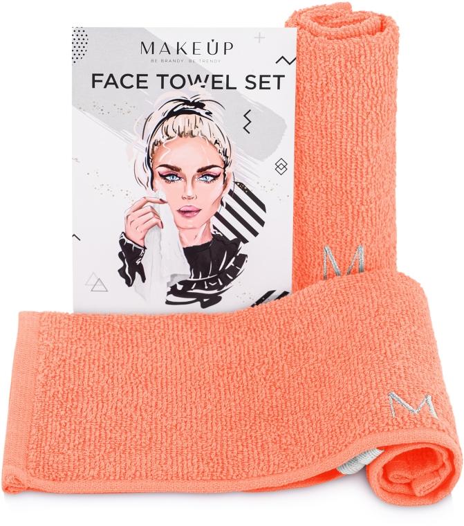 """Дорожный набор полотенец для лица, персиковые """"MakeTravel"""" - Makeup Face Towel Set"""