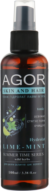 "Тоник ""Гидролат лайм-мята"" - Agor Summer Time Skin And Hair Tonic"