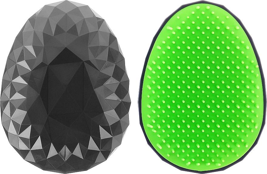 Щетка для волос, черная с салатовыми зубцами - Twish Spiky Hair Brush Model 2 Midnight Black