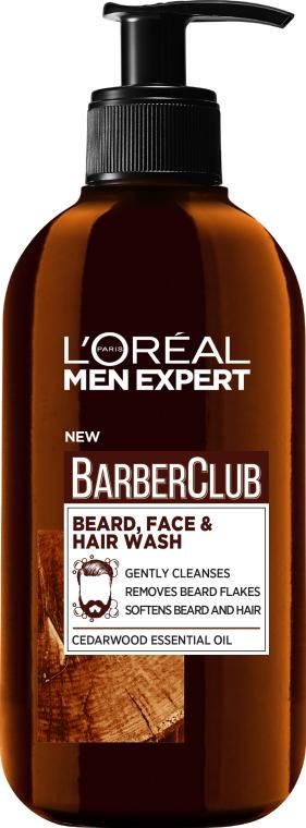 Очищающий шампунь 3 в 1 для бороды, лица и волос - L'Oreal Paris Men Expert Barber Club