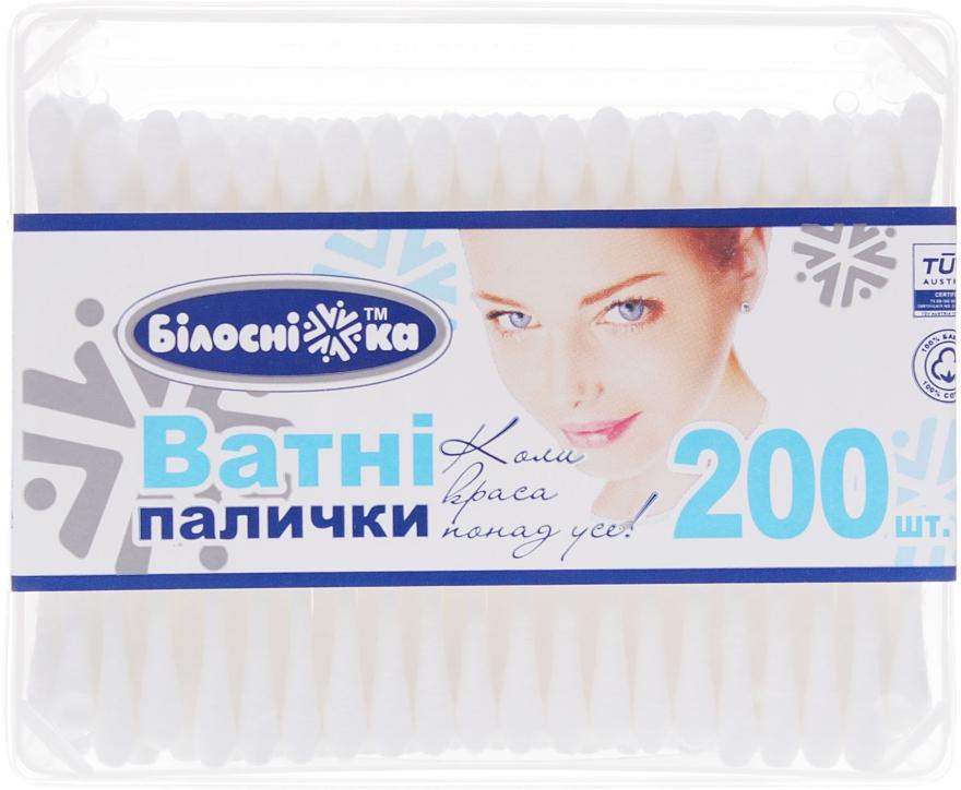 Ватные палочки в прямоугольной упаковке, 200 шт - Білосніжка