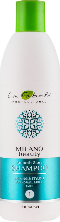 Шампунь для блеска и гладкости волос - La Fabelo Professional Milano Beauty Smooth Gloss Shampoo