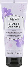 "Духи, Парфюмерия, косметика Крем для рук ""Фиалковые мечты"" - I Love Violet Dreams Hand and Nail Cream"