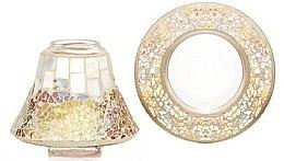Духи, Парфюмерия, косметика Абажур и подставка для маленькой свечи - Yankee Candle Gold & Pearl Mosaic Small Shade & Tray Set