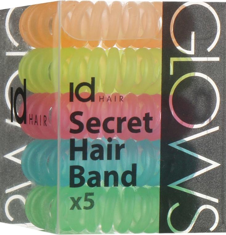 Силиконовые резинки для волос, разноцветные - idHair Secret Hair Band Glow