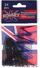 Духи, Парфюмерия, косметика Заколки-невидимки волнистые, черные 60 мм, 24 шт. - Ronney Professional Black Hair Bobby Pins