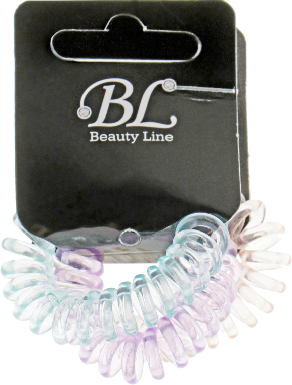 Набор резинок для волос, 405004, прозрачно-розовая+прозрачно-голубая+прозрачно-фиолетовая - Beauty Line