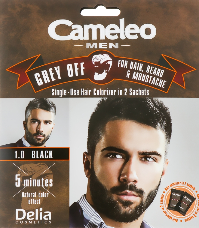 Мужская краска для волос, бороды и усов - Delia Cameleo Grey Off